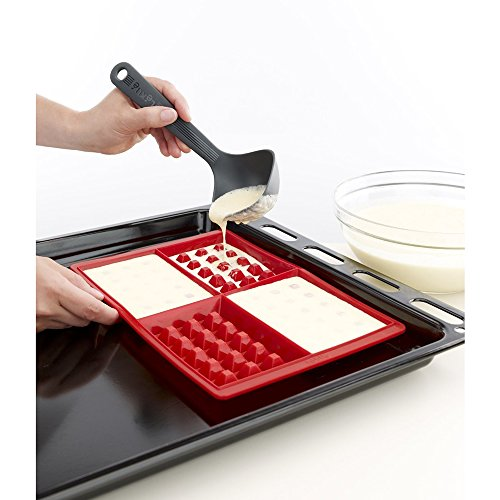 Lekue Silicone Waffle Mold with batter being poured in