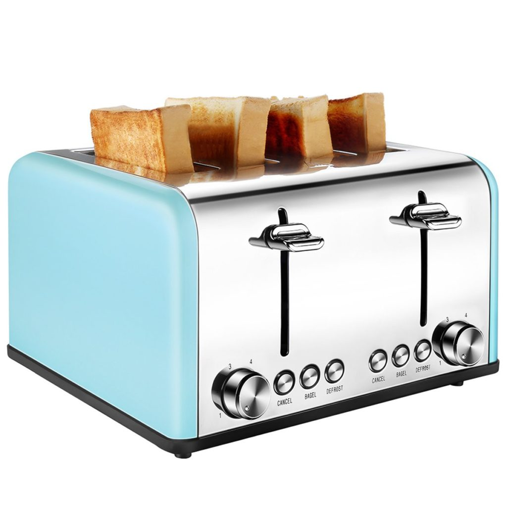 ToBox 4 Slice Retro Toaster - Malibu Blue